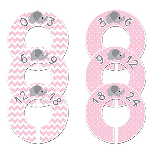 6 Baby Girl Nursery New sales Clothing Pink Closet Size Elephant Dividers Chicago Mall