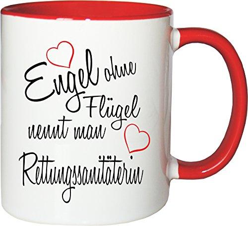 Mister Merchandise Becher Tasse Engel ohne Flügel nennt Man Rettungssanitäterin Kaffee Kaffeetasse liebevoll Bedruckt Beruf Job Geschenk Weiß-Rot