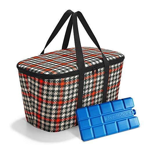 reisenthel coolerbag mit Kühlakku - isolierte Kühltasche, faltbar, robust, mit Reißverschluss - 44,5 x 24,5 x 25 cm, Volumen: 20l - Exklusives Set, Glencheck red (3068)