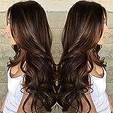 Parrucche sintetiche Ondulato naturale Taglio asimmetrico Parrucca Lungo Marrone Capelli sintetici 25 pollice Per donna Migliore qualità arricciatura Marrone