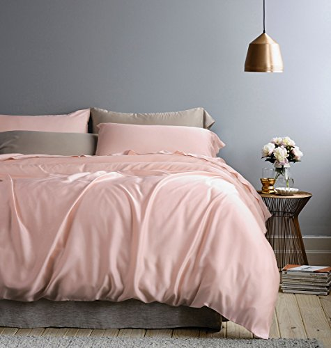 Solid Color Egyptian Cotton Duvet Cover Luxury Bedding Set High Thread Count Long Staple Sateen Weave Silky Soft Breathable Pima Quality Bed Linen (Queen, Rose Gold)