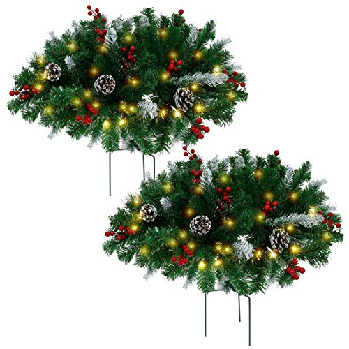 Juegoal Pre-lit Artificial Christmas Urn Filler with Pine Cones, Red Berries, Tripod Stake and Pre-Strung Warm White 60 LED Lights, Frosted Berry Planter Filler Xmas Holiday Home Decorations, 2 Pack