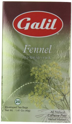 Galil Tea, Fennel - 20 Count Boxes (Pack Of 6) - Herbal Tea - Naturally Caffeine Free - Certified Kosher