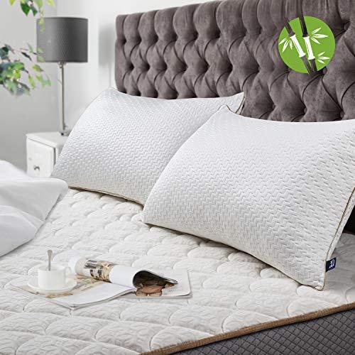 BedStory Kopfkissen, Bambus, 50 x 70 cm, 2 Stück, mit abnehmbaren Bezügen, milbendicht, Kissen mit Füllung 10 % 7D und 90 % 3D Polyesterfaser, Kissen in Hotel-Qualität