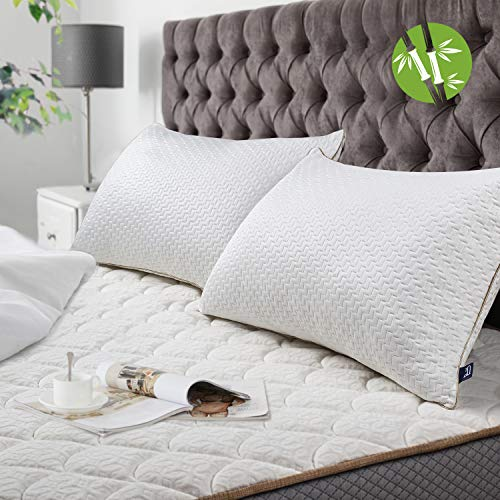 BedStory Almohadas Bambú 50x75 Almohada 2 Unidades con Funda de Lavable Almohada Antiácaros con 80% de 3D Fibra + 20% de 7D Fibra de poliéster Relleno de Almohadas de Calidad Hotelera
