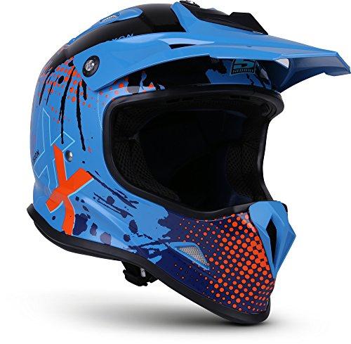 "SOXON® SKC-33 ""Fusion Blue"" · Kinder Cross-Helm · Motorrad-Helm MX Cross-Helm MTB BMX Cross-Bike Downhill Off-Road Enduro-Helm · ECE 22.05 Schnellverschluss SlimShell Tasche XS (51-52cm)"