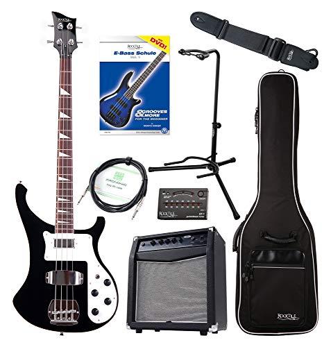 Rocktile Pro RB-400B Blackbird E-Bass Super Set - 4-Saiter Longscale E-Bass - Inklusive Amp, Gigbag, Tuner, Gurt, Ständer, Kabel und Schule - schwarz
