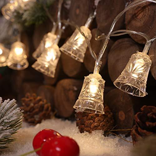 Xnuoyo 40LED Cadena de Luces de campana de Navidad Multifunción Cadena de Luces con Pilas con 8 Modos IP65 Luces LED Impermeables para Decoraciones de Fiesta de Dormitorio de Navidad
