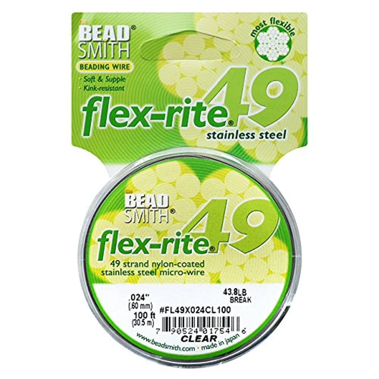 49 strand Flex Rite Beading Stringing Wire .024 Inch 100 Feet Professional Nylon Coated Stainless Steel extra strong 43.8lb Break , trprcmcws606851