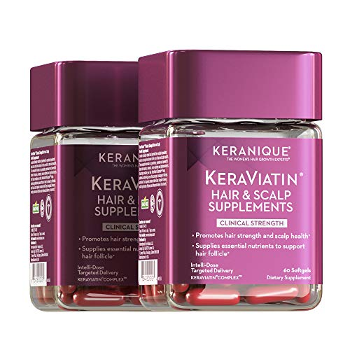 Keranique KeraViatin Hair & Scalp Health Supplement, Clinical Strength, Biotin, Vitamin B, 120 Softgels