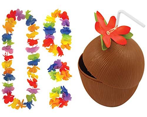 labreeze Kokosnuss-Becher mit Strohhalm & 4-teiliges Lei-Set Hawaii-Hula-Party-Kostüm-Requisite.