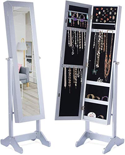 LED Light Jewelry Cabinet Armoire with Mirror, Large Storage 57' Tall Mirrored Armoire Box Necklace Ring 27 Hook Girls Women, Modern Standing Jewelry Armories with 3 Adjustable Angles