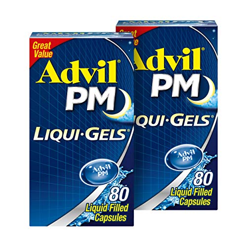 Advil PM Liqui-Gels Pain Reliever and Nighttime Sleep Aid, Pain Medicine with Ibuprofen for Pain Relief and Diphenhydramine HCL for a Sleep Aid - 2x80 Liquid Filled Capsules