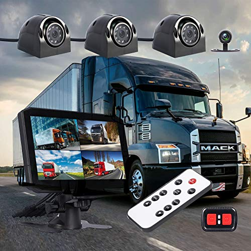 VSYSTO 4CH Dash Cam Recording Camera Recorder DVR Front & Sides & Rear VGA for Semi Trailer Truck Van Tractor with Infrared Night Vision Lens, 7.0'' Monitor
