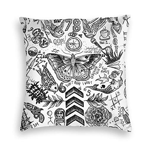 One Direction Tattoos - Fundas de cojín de terciopelo suave, fundas de almohada cuadradas para sofá, dormitorio, coche, con cremallera invisible, 45,7 x 45,7 cm
