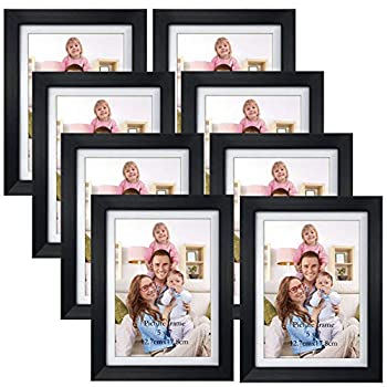 Giftgarden 5x7 Picture Frames Set of 8 Display 5x7 Pictures with Mat or 6x8 Photos without Mat for Wall Decor or Tabletop Display Black