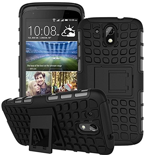 Qlez Heavy Duty Drop Test Pass Dual Layer Hard Rugged Bumper Back Media View Kickstand Cover for HTC Desire 526G Plus- Black
