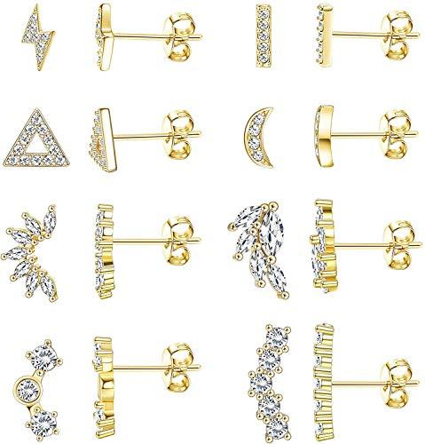 Milacolato 8Pairs Stainless Steel Moon Lightning Bolt Stud Earrings for Women CZ Dainty Mini Bar Earrings Set