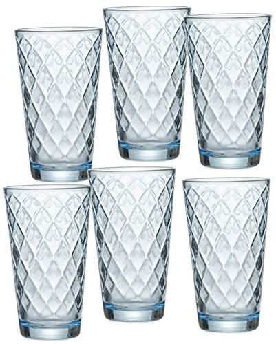Ritzenhoff & Breker Longdrinkgläser-Set Lawe Diamant, 6-teilig, je 400 ml, Blau, Glas, 400 milliliters, Hellblau