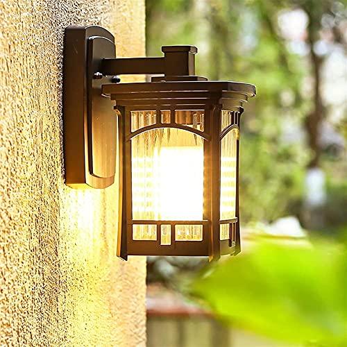 Lámpara de pared moderna para exteriores, linterna LED, exterior, retro, con marco cuadrado, lámpara para autocar al aire libre, aluminio, vintage, impermeable, E27 con vaso de agua para porche, jard