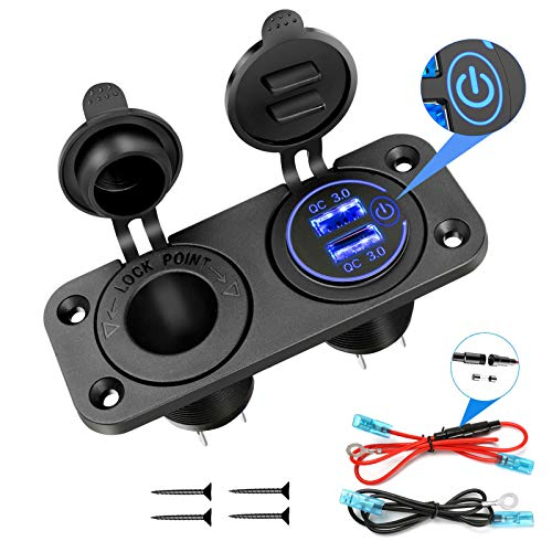 YONHAN Quick Charge 3.0 Cigarette Lighter Socket Splitter, 12V Dual USB Charger Power Outlet with Switch for Car Boat Marine RV and More