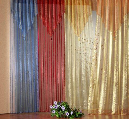 heimtexland Gardinen Schal Vorhang Organza mit Quaste+Spitze, Farbe Rot, Höhe 245cm x Breite 135cm, Universalschienenband Typ140