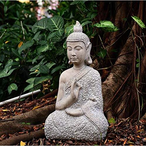 Bata Buda Decoración Adorno Sentado Estatua Meditando En Impresionante Acabado - (Pequeño Grande) Small-43 * 25 * 15cm