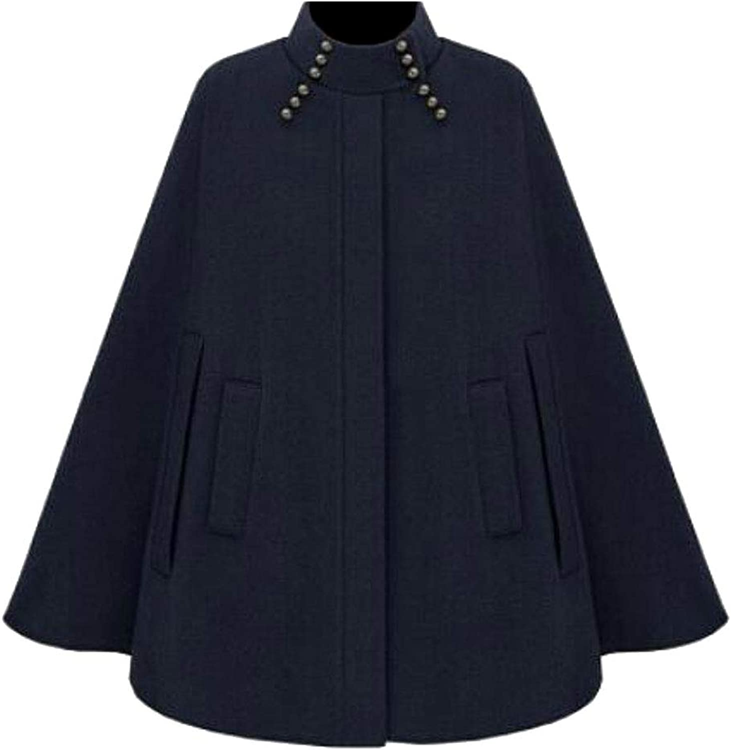 FRPE Women Cape Vintage Overcoat Loose Fit Stand Collar Cloak Pea Coat