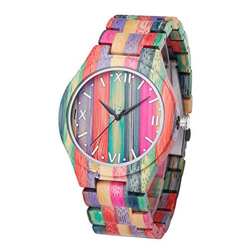 Macabolo Reloj de pulsera unisex de madera de bambú colorido reloj de pulsera analógico de cuarzo reloj de madera casual