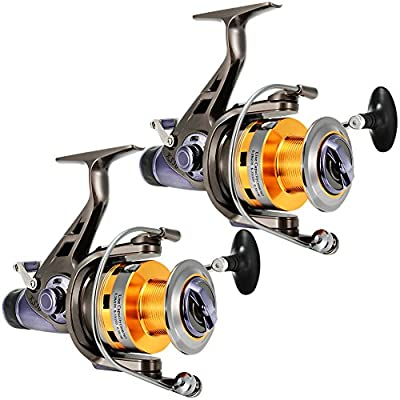 LinTimes Carp Fishing Reels with Front and Rear Double Drag Brake System Baitrunner Reel 9+1 Stainless Steel BB Left Right Interchangeable for Saltwater Freshwater Fishing from LinTimes