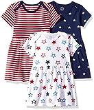 Amazon Essentials Lot de 3 robes pour bébé fille, Americana, NB (50 cm)
