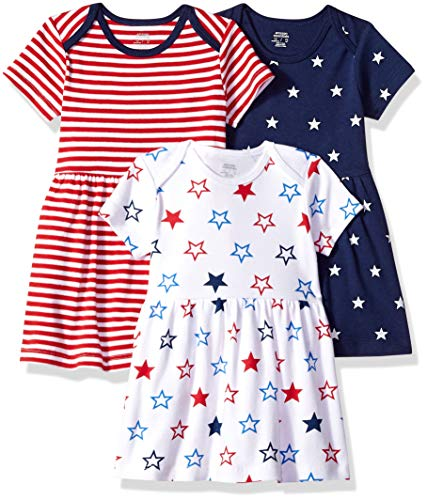 Amazon Essentials - Pack de 3 vestidos para niñas, Americana, US NB (EU 56-62)