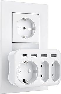 USB Steckdose, massway Mehrfachsteckdose 3-Fach Steckdosen (4000W) mit 3 USB Ladegerät (2.4A) und 1 Typ-C-Anschluss (3A), ...