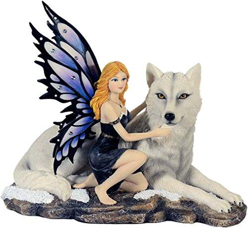 Maravillosa elfo con lobo figura invierno hada