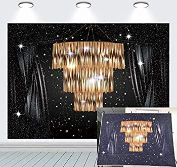 BT BINQOO 7x5ft Crystal Chandelier Black Starry Glitter Curtain Backdrop for Party Great Gatsby Background Starry Sky Wedding Adult Baby Children Family Women Party Decor Portrait Shooting Photo