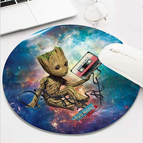 Computer Gaming Mouse Pad Wasserdichte, rutschfeste Gummimaterial-runde Mausmatte für Büro und Zuhause (8 Zoll) - Guardians of The Galaxy Vol. 2 Groot mit Klebeband
