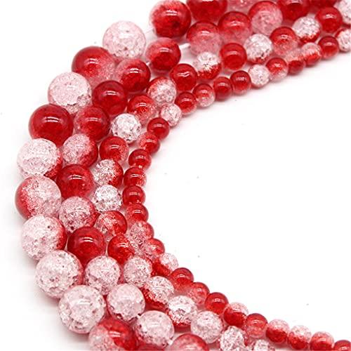 Cuentas de piedra de cristal agrietadas de nieve de colores naturales 6/8/10/12 mm para hacer joyas redondas sueltas espaciadoras cuentas DIY pulsera rojo 10 mm aprox. 38 cuentas