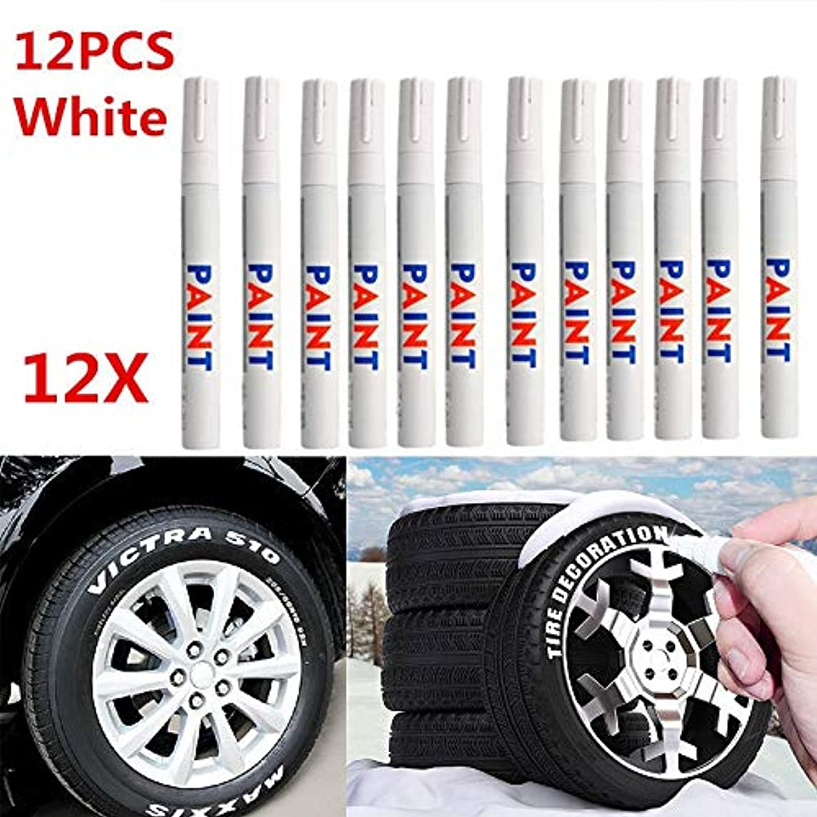 Carvicto - Tire Repair Tools 12pcs White Waterproof Permanent Car Tyre Tire Tread Paint Marker Pen Tire Pen Motorcycle