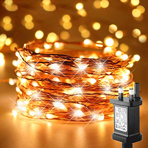 FANSIR Plug in LED String Lights, 100 LED Plug Fairy Lights 33 feet 8 Modes Copper Wire Lights Dimmble Waterproof String Lights for Bedroom Wedding Party Indoor Outdoor Decoration (Warm White)