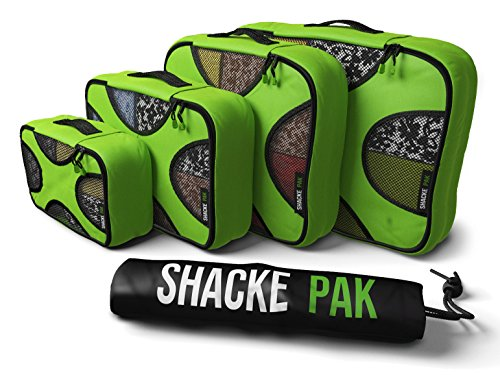 Shacke Pak - 5 Set Packing Cubes - Travel Organizers with Laundry Bag (Green Grass)