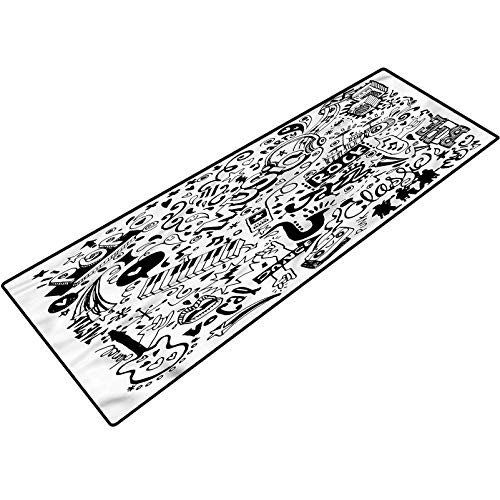 Doodle Bathroom Runner Rug Rock Jazz Blues Dancing Washable for Home Office Standing Desk Rug 20x32 Inch