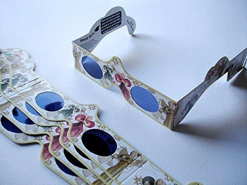 5 Stück HoloSpex 3D Brille Angels, Engel (mit Wackeleffekt!), Weihnachten (Happy Eyes, Holiday Specs) / Weihnachtsbrille, Effektbrille, Partybrille, Spaßbrille