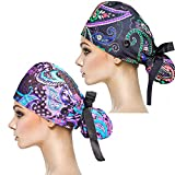 YUESUO 2 Pack Working Cap with Buttons and Sweatband,Cotton Working Hats with Adjustable Ponytail Pack Ribbon Tie Back Hats for Women & Men,Long Hair Head Covers Shower Caps (T)