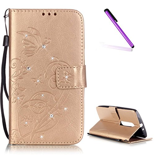 EMAXELERS Moto X Play hülle Diamant Bling Schmetterling Ledertasche Slim PU Leder Bookstyle Handyhülle Tasche Wallet Case Cover Handytasche für Moto X Play,Gold Butterfly with Diamond