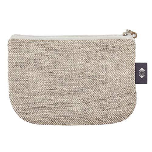 Canvas Makeup Bag 100% Linen - Canvas Travel Bag with Herringbone Pattern Gift for Him or Her (Medium, White-Natural Herringbone)