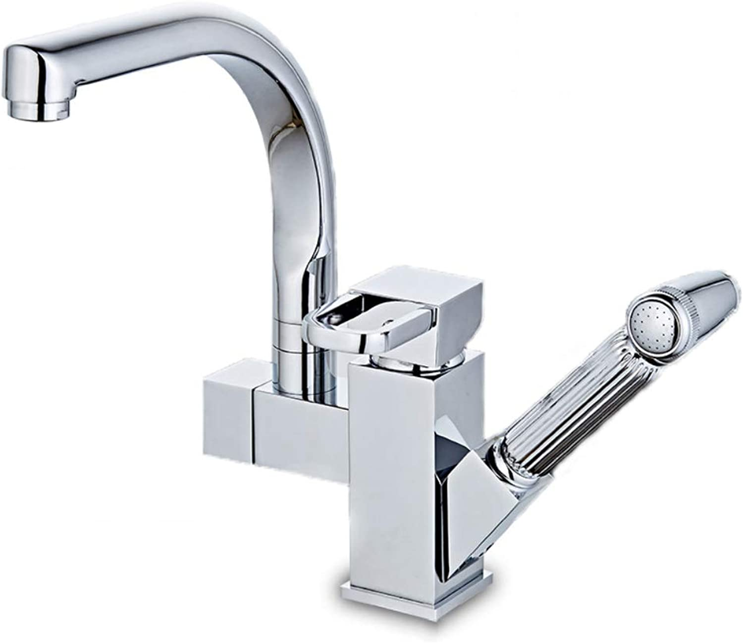BILLY'S HOME Single Handle Faucet, High Arc Chrome Finish Pull out Kitchen Faucet, 360° redation Pullable Contemporary Style