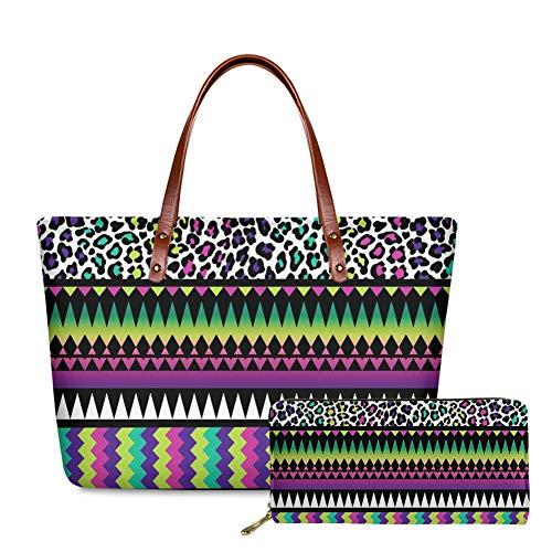 SEANATIVE Aztec - Bolsa de mano tribal con diseño de rayas coloridas con estampado de piel de leopardo y asa superior para tarjetas, con tarjetero