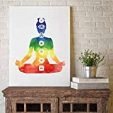 Geiqianjiumai Bunte Lotus Yoga wandkunst Poster aquarell Chakra Yoga Meditation Bild ölgemälde Dekoration rahmenlose malerei 30x40 cm