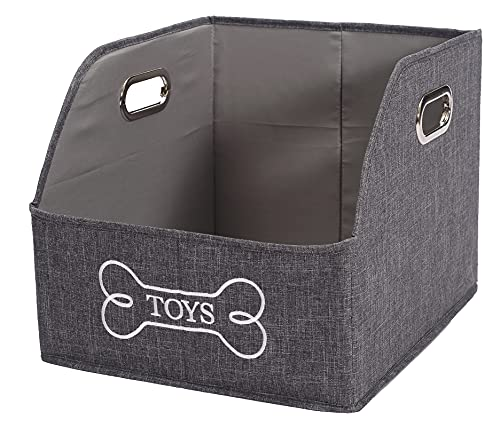 Brabtod Foldable Storage Bin - Rectangle Storage Basket with Handle, Organizer Bin for Pet Toys, Diaper, Shelves, Closet -Gray