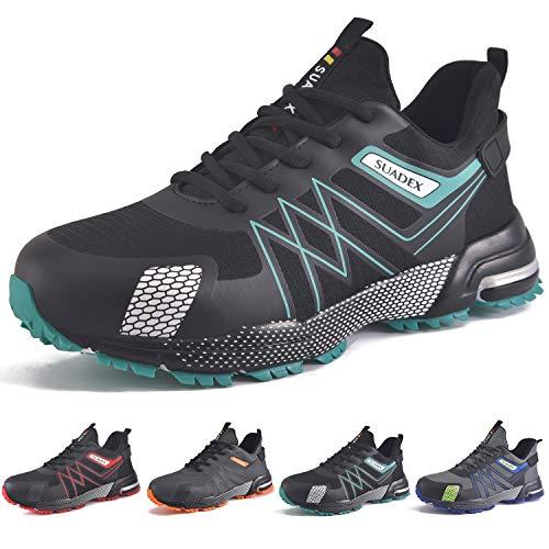 SUADEX Zapatos de seguridad para hombre, ligeros, con puntera de acero, deportivos, transpirables., color Negro, talla 41 EU